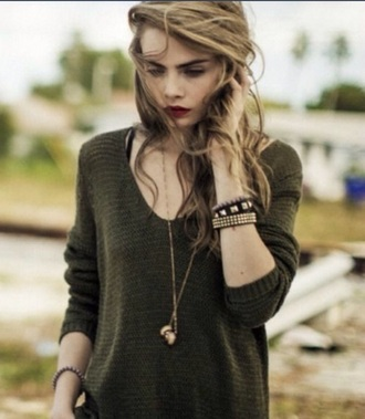 cara delevingne green sweater fall sweater
