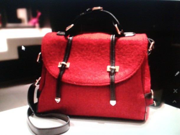 bag Woolen Handbag Red Woolen Handbag messenger bag