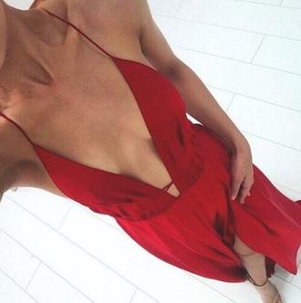 dress red dress plunge v neck maxi dress