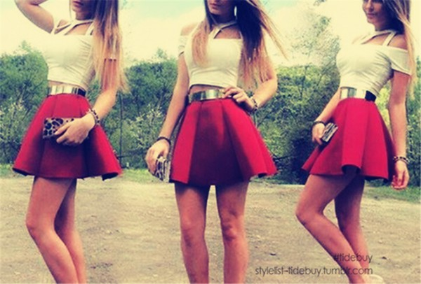 skirt red skirt metal belt skater skirt white crop tops belt cut out crop top shoes