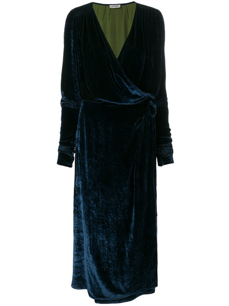 dress wrap dress women blue silk velvet