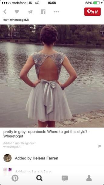 dress ooen back short prom dresss top grey open back bow