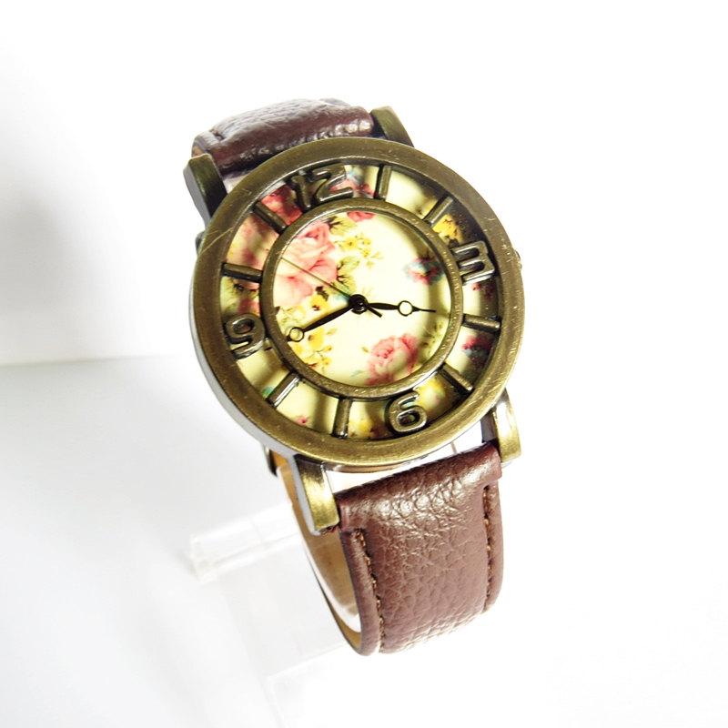 New! 3D Floral Watch, Vintage Style Leather Watch, Women Watches, Boyfriend Watch,