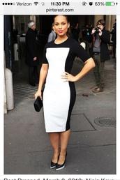dress,alicia keys,midi dress,black and white,fashion