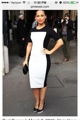 dress alicia keys midi dress black and white