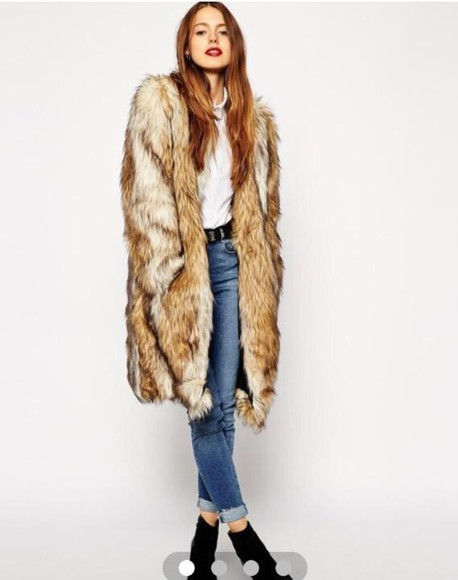 fall outfits fashion style fur coat faux fur winter jacket coat