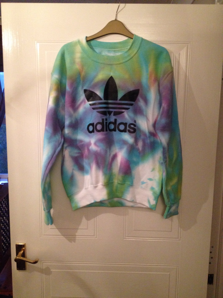 slouchy customised adidas tie dye acid wash jumper swearshirt hipster grunge rock chick one size