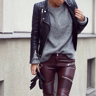 jeans purple burgundy leather leather pants sexy grey sweater black jacket winter swag