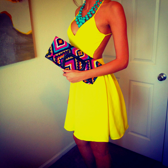 short dress yellow dress backless necklace turquoise aztec yellow clutch backless dress backless dress mini dress summer outfits dress yellow backless dress handbag jewels