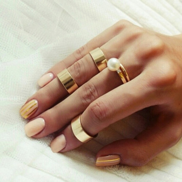 Jewels, Perle, Ring, Gold Ring, Nail Polish, Nude, Gold