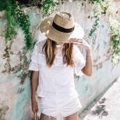 top,hat,tumblr,all white everything,white top,eyelet detail,eyelet top,shorts,denim shorts,white shorts,sun hat