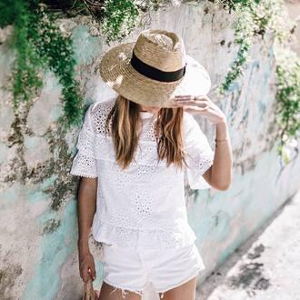 top hat tumblr all white everything white top eyelet detail eyelet top shorts denim shorts white shorts sun hat