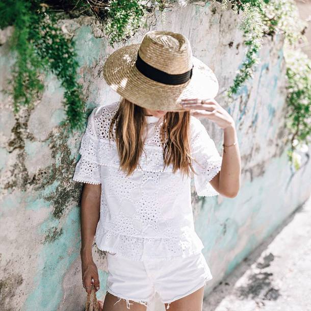 top hat tumblr all white everything white top eyelet detail eyelet top shorts denim shorts white shorts sun hat