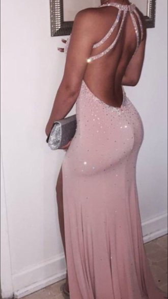 dress pink silver backless backless pink dress backless pink prom dress prom beautiful cut-out dress prom dress backless dress