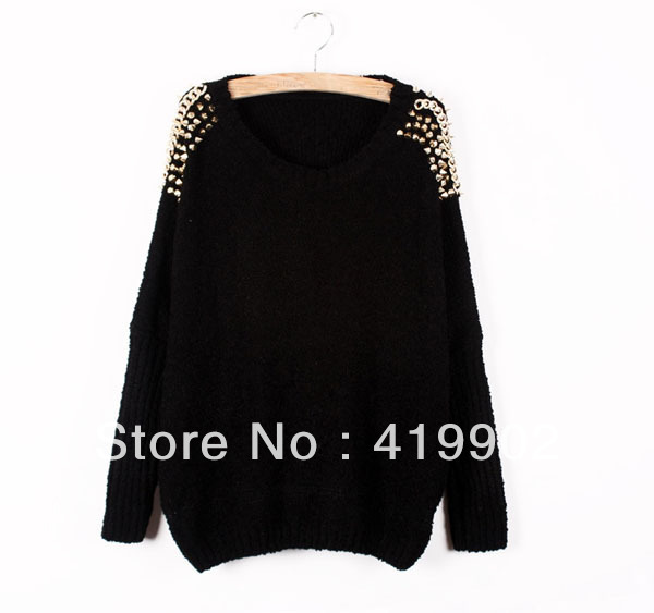 2013 New Punk Rock Black Apricot crew neck bat sleeves decorated with rivets Knit top Jumper Sweater Pullover Free Shipping-in Pullovers from Apparel & Accessories on Aliexpress.com