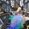 Vivid rainbow wedding dress