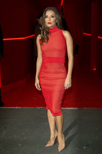 dress bodycon dress red dress eva longoria pumps midi dress fashion week 2016 paris fashion week 2016