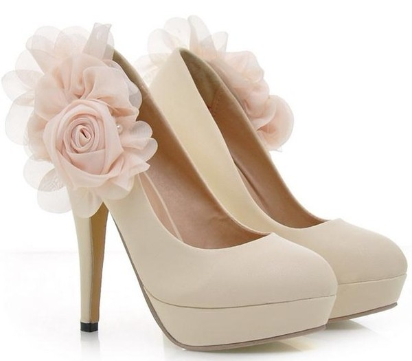 shoes high heels tulle flower shoes flower heels nude high heels