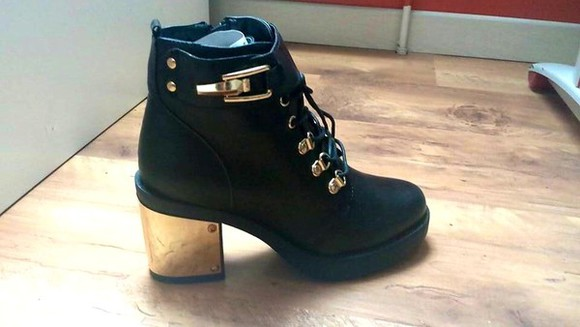 shoes lace up boots heeled buckle boots
