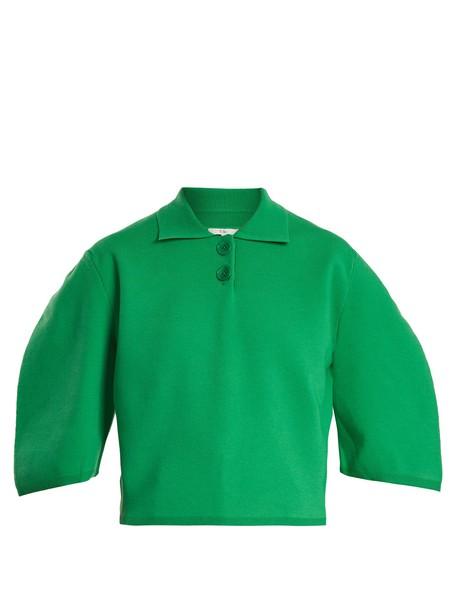 Tibi top cropped wool green
