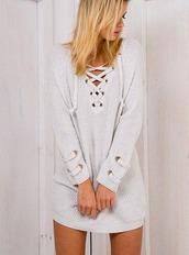 dress,girl,girly,girly wishlist,lace up,sweater dress,grey