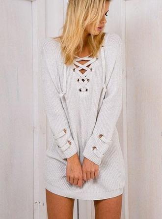 dress girl girly girly wishlist lace up sweater dress grey