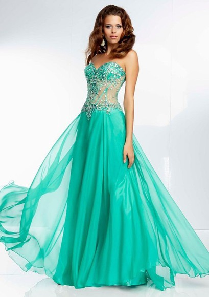 corset prom flowy sparkly green