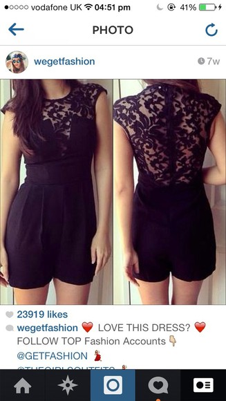 shorts cute dress lace black playsuits lace playsuit
