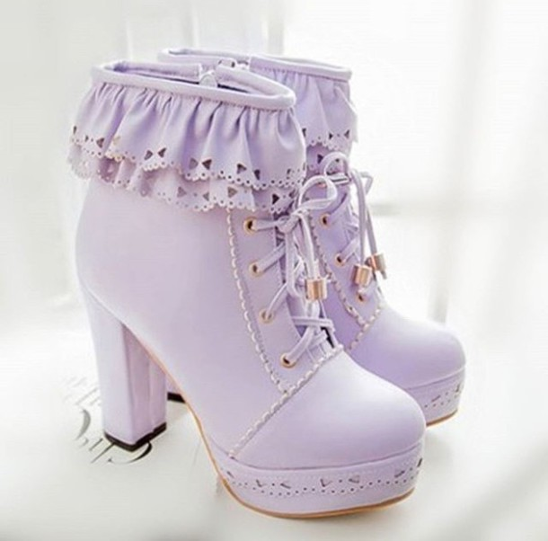 Shoes Heels Purple Cute Lovely Pretty Kawaii Pastel