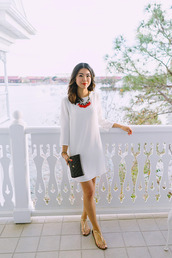 hey pretty thing,blogger,jewels,make-up,white dress,nordstrom,statement necklace,gold sandals,clutch,chanel,black bag,flats,Gold low heel sandals