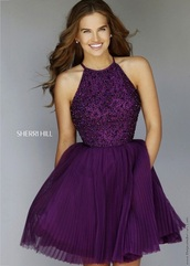 dress,prom dress,purple dress,sherry hill,purple,graduation dress,short dress,short prom dress,halter dress