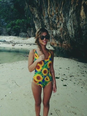 swimwear floral style sunflower one piece swimsuit beach