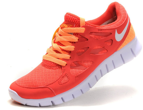 shoes white coral vibrant yellow orange nike free rum run shies colourful jog