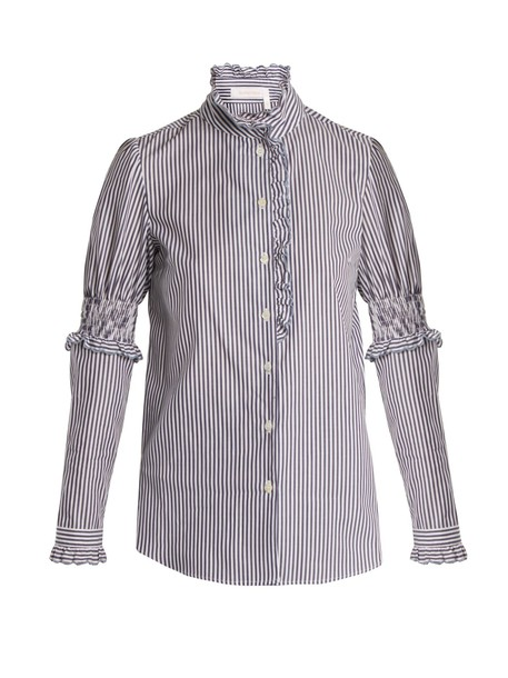 See by Chloe shirt ruffle cotton blue top
