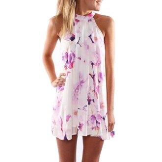 dress summer summer dress halter dress mini dress boho boho chic sleeveless dress floral halter neck fashion