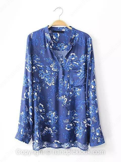 Blue Long Sleeve Floral Print Loose Blouse - HandpickLook.com
