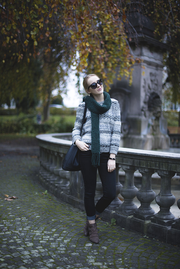 tiphaine's diary scarf sweater jeans shoes sunglasses bag