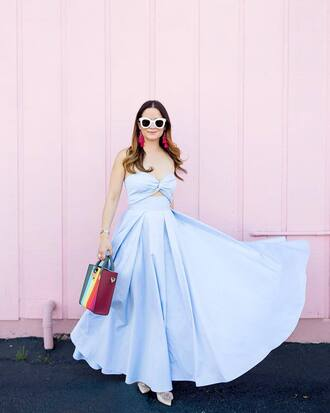 top skirt tumblr blue top matching set bow bandeau maxi skirt long skirt blue skirt bag sunglasses white sunglasses