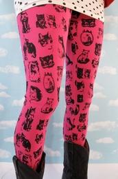 pants,cats,leggings,pink