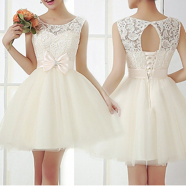 Fashion lace bow hot dress
