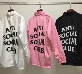 jacket girl girly girly wishlist white pink black windbreaker antisocial social club