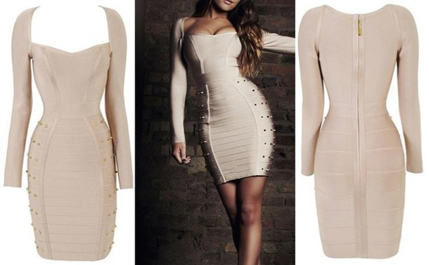 dress herve leger nude nude dress beige dress beige long sleeves