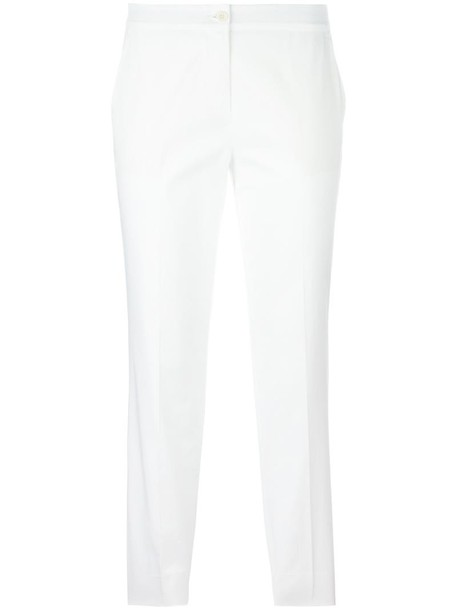 cropped women spandex white cotton pants