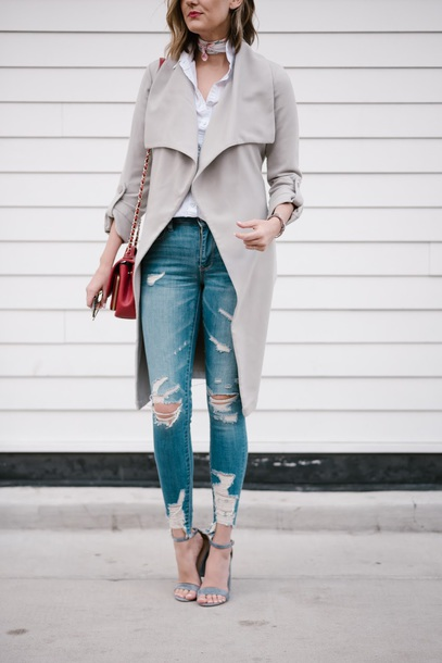 fc45d54f0c see jane blogger coat tumblr grey coat trench coat shirt white shirt denim  jeans blue jeans