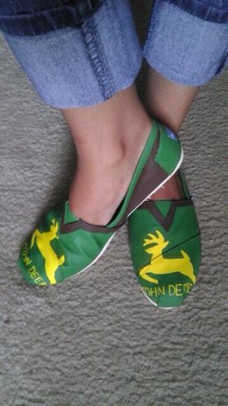 brown yellow shoes toms john deere green