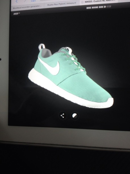 shoes nike roshe run mint green shoes