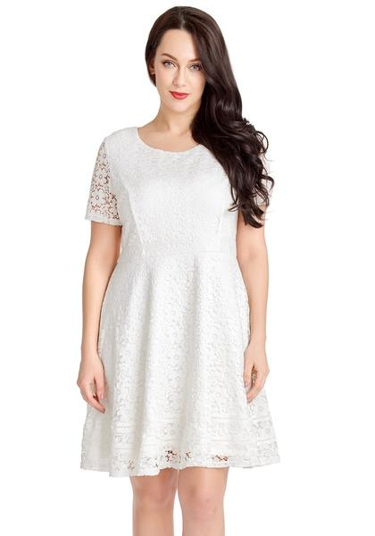 White Floral Hollow Lace Short Sleeves Skater Dress