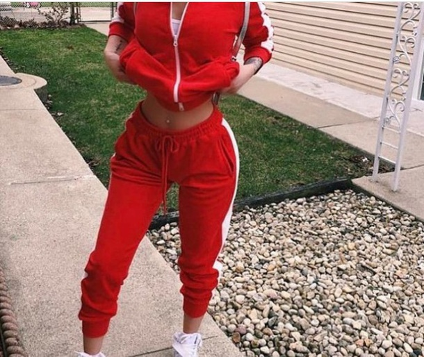 pajamas red white stripes training pants jacket pants jumpsuit red sweatpants tracksuit top tracksuit striped top stripes zipped hoody leggings joggers pants red jacket forever 21 track pants joggers