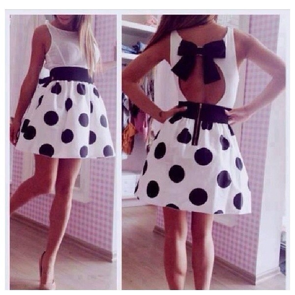 dress white dress black polka dots dress bow