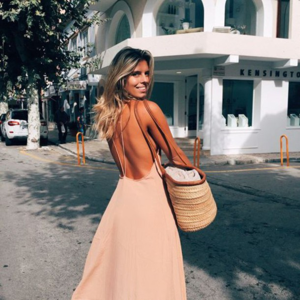 Dress: natasha oakley, nude dress, backless dress, open back ...